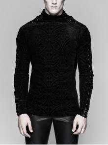 High Collar Lace-Up Long Sleeve Black Gothic Vintage Pattern Print T-Shirt