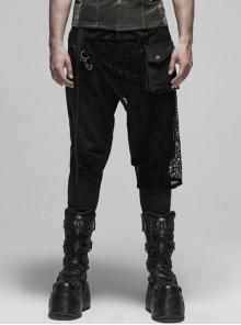 Metal Buckle Decoration Splice Mesh Low-Grade Black Punk Pants