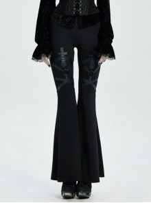 Metal Ring Leather Strap Decoration Black Gothic Knit Flared Trousers