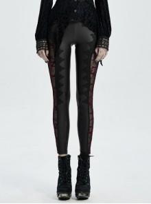 Side Splice Velvet-Burning Flower Mesh Ribbon Decoration Black Gothic Knit Legging