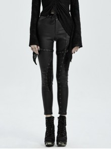 Metal Buckle Leather Leg Loop Splice Knit Lace-Up Black Punk Tight Trousers