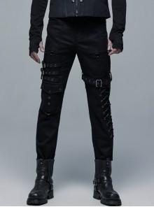 Metal Buckle Leg Loop Side Splice Knit Lace-Up Black Punk Pants