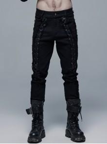 Front Lace-Up Splice Broken Holes Mesh Black Punk Woven Pants