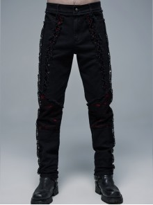 Front Lace-Up Splice Red Plaid Knit Broken Holes Mesh Black Punk Woven Pants