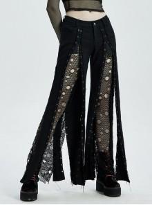 Black Splice Broken Holes Mesh Lace-Up Punk Pants