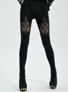 Front Metal Ring Leather Strap Decoration Splice Mesh Black Gothic Legging