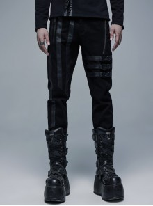 Black Metal Buckle Leather Leg Loop Punk Woven Pants