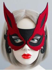 Retro Gothic Burgundy Fox Half Face Adult Male Female Halloween Party Mask