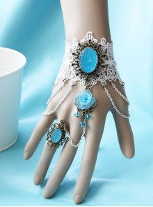 Baroque Bride Wedding Blue Gemstone Flower White Lace Christmas Holiday Bracelet With Ring One Chain