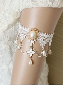 Baroque White Pearl Flowers Handmade Bride Lace Wedding Tassel Armband Bracelet