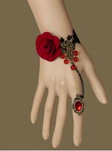 Fashion Gothic Black Lace Red Rose Gemstone Retro Bracelet Ring Set