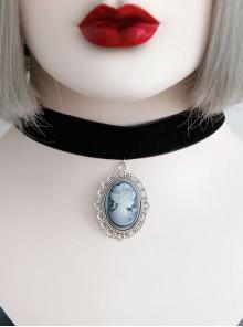 Gothic Black Retro Vampire Female Portrait Wide Velvet Rope Choker