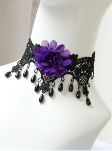 Gothic Retro Purple Flower Black Lace Pearl Female Exaggerated Palace Choker