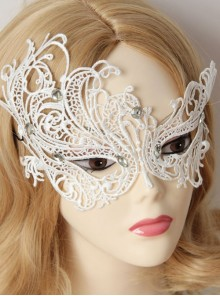 Baroque Masquerade Party Crystal White Lace Princess Half Face Mask