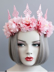 Fashion Pink Flowers Crown Wreath Holiday Bride Gown Christmas Hairband