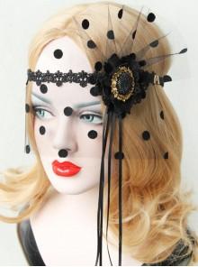 Retro Gothic Black Exaggerated Fashion Tassel Flowers Masquerade Veil