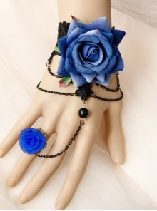 Gothic Halloween Prom Blue Roses Hollow Black Lace Band Ring Bracelet