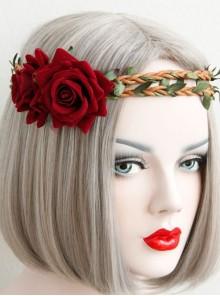 Fashion Casual Halloween Christmas Red Roses Rattan Garland Holiday Wedding Hair Band