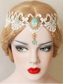 Luxury Baroque White Lace Blue Flowers Crown Swan Retro Bride Christmas Hairband