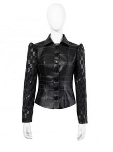 Cruella Black Leather Skirt Suit Halloween Cosplay Costume Black Leather Top
