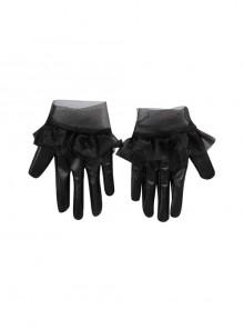 Cruella Black Leather Skirt Suit Halloween Cosplay Accessories Black Leather Gloves