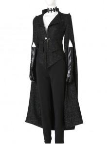 Cruella Black Windbreaker Suit Halloween Cosplay Costume Black Coat