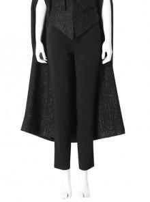 Cruella Black Windbreaker Suit Halloween Cosplay Costume Black Pants
