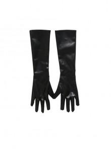 Cruella Black Windbreaker Suit Halloween Cosplay Accessories Black Long Gloves