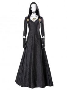 Resident Evil Village Biohazard Village Moth Lady Bela Dimitrescu Halloween Cosplay Costume Black Long Dress