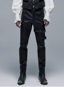 Metal Buckle Leg Loops Black Punk Imitation Woven Pants