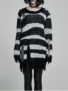 Black Punk Metal Eyelets Strap Long Sleeve Rough Selvage Striped Sweater