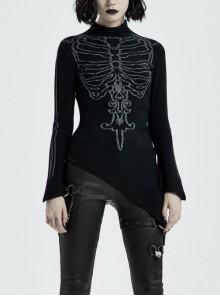 High Collar Front Bone Pattern Print Flare Cuff Hem Bevel Black Punk Sweater