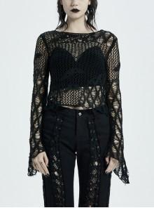Black Punk Flare Sleeve Irregular Woven Hollow Short Sweater