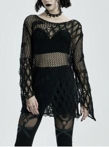 Round Collar Flare Sleeve Black Punk Irregular Woven Hollow Sweater