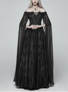Off-Shoulder Boat Neck Chiffon Poncho Sleeve Back Waist Lace-Up Black Gothic Long Dress