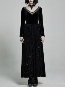Large Collar Front Chest Splice Mesh Flare Sleeve Back Waist Lace-Up Black Gothic Knit Velvet Long Dress