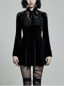Lace Collar Front Chest Decals Flare Sleeve Back Waist Lace-Up Black Gothic Knit Velvet Dress