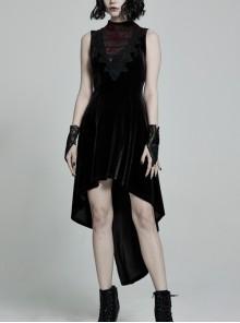 Front Chest Splice Mesh Decals Sleeveless Back Waist Lace-Up Black Gothic Retro Velvet Dress