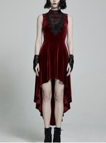 Front Chest Splice Mesh Decals Sleeveless Back Waist Lace-Up Wine Red Gothic Retro Velvet Dress