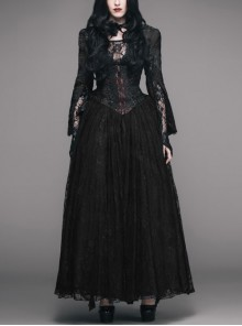 Black Red Jacquard Fabric Lace Skirt Gothic Long Dress