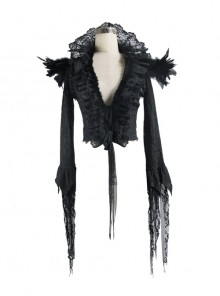 Black Composite Mesh Fabric Transparent Lace Stand-Collar Gothic Small Coat