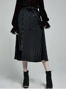 Metal Nails Metal Chain Decoration Black Punk Velvet-Pressed Pleated Long Skirt
