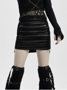 Front Metal Eyelets Knitted Small Tassel Decoration Black Punk Leather Half Skirt