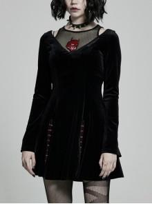 Mesh Collar Front Chest Embroidery Long Sleeve Ribbon Decoration Hem Black Gothic Silk Knit Dress
