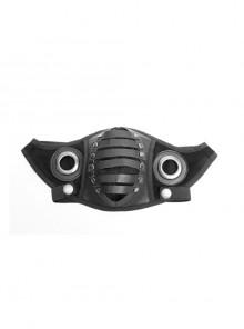 Front Metal Rings Leather Strap Decoration Black Punk Imitation Suede Men Mask
