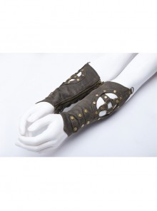 Metal Nails Decoration Lace-Up Hollow-Out Black Punk Woven Women Gloves