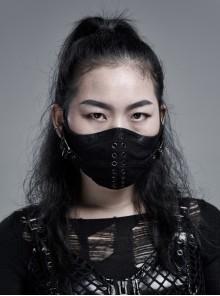 Women Metal Eyelets Decoration Black Punk Cracked Texture Print Mask