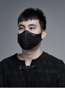 Men Metal Eyelets Decoration Black Punk Cracked Texture Print Mask