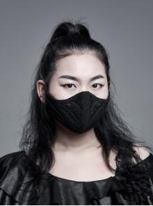 Women Front Three-Dimensional Webbing Black Gothic Mask
