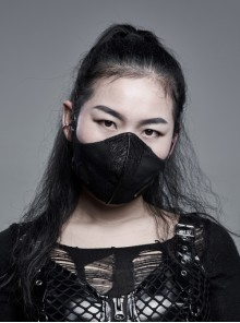 Women Front Metal Rings Mesh Decoration Black Punk Coarse Woven Mask